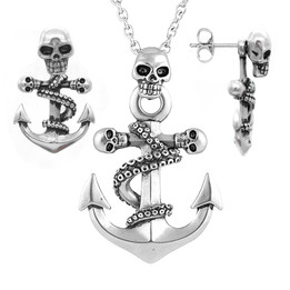 Octopus Skulls Anchor Pendant Necklace & Earrings