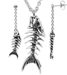 Fish Bones Necklace & Earrings Set