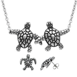 Turtle Companionship Necklace & Earrings Set