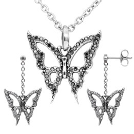Blingin' Butterfly Necklace & Earrings Set