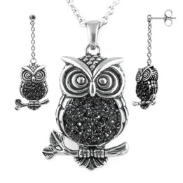 Mid-nighter Owl Necklace & Earrings Set
