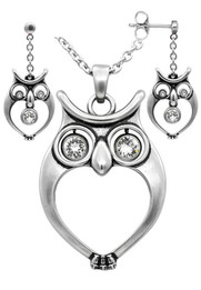 Watchful Owl Necklace & Earrings Set with Swarovski Crystals