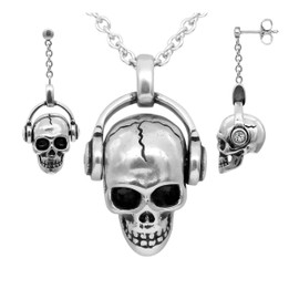 Rock 'N' Skull Necklace & Earrings Set