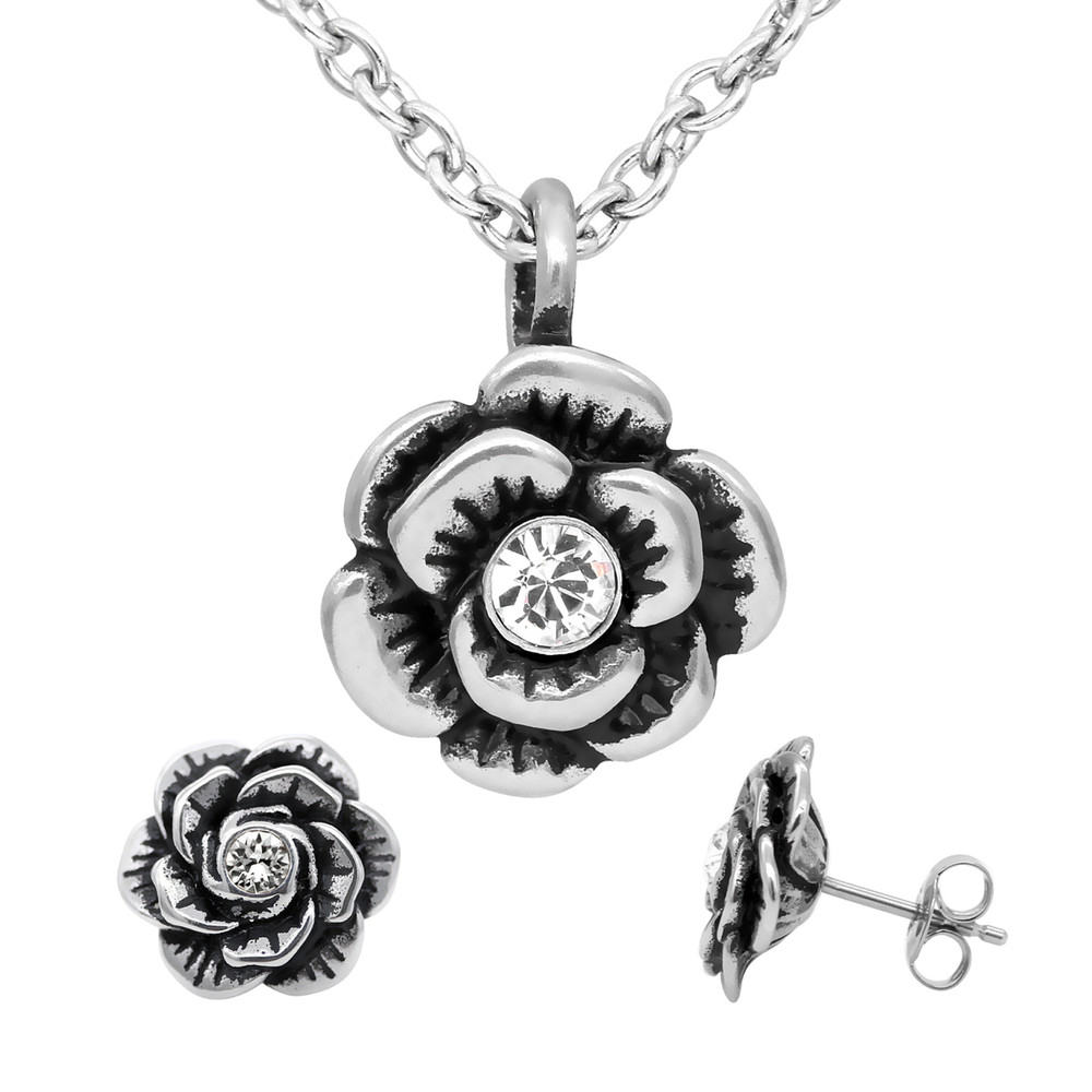 3d5480837 Rose Necklace & Earrings Crystal Bloom Flower Jewerly Set - Controse