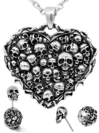 Captivated Souls Heart Skull Necklace & Earrings Set