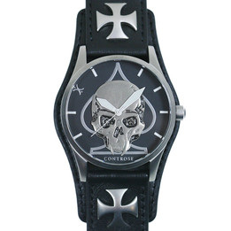Skull & Spade Watch - Black Leather Wristband