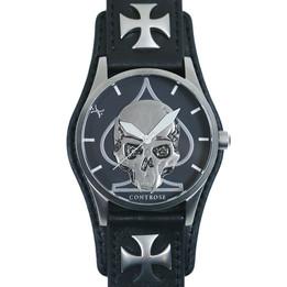 Skull & Spade Watch - Black Leather Wristband