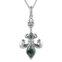 Fleur-de-Lis  - Green Marble Lily Necklace