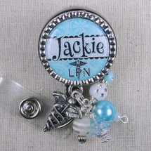 Personalized LPN Badge Reel Gift - Turquoise Nurse Name Tag