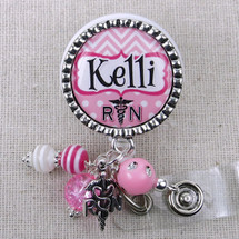 Personalized RN Name Badge Reel - Pink Chevron Nurse Badge ID