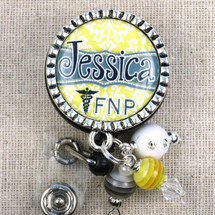 PERSONALIZED Badge Reel Gift for FNP - Yellow Gray Damask Design Name Tag