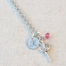 Personalized BALLERINA Necklace - Initial with Birthstone Ballet Gift