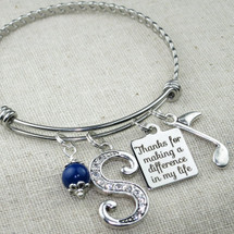 Thanks for Making a Difference in My Life Bangle Bracelet - Music Teacher Gift