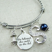 Barbell Bangle Bracelet - Motivational Quote Gift for Friend