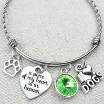 I love Dogs Charm Bracelet - A Piece of My Heart Is in Heaven Bangle Bracelet