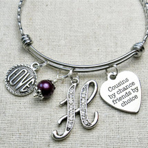 COUSIN Gift - Cousins By Chance Friends By Choice Bangle Bracelet