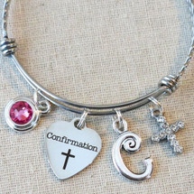 Personalized Gift for Confirmation - Confirmation Cross Charm Bracelet