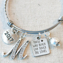 Graduation Gift Bangle Bracelet - Those Who Reach Can Touch The Stars