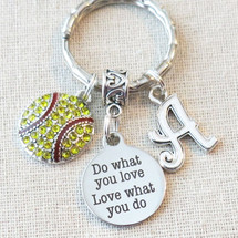 SENIOR Gift for Softball Player - Do What You Love-Love What You Do Softball Keychain