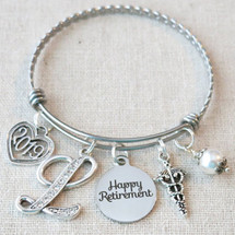 NURSE MEDICAL RETIREMENT Gift Bangle Bracelet - Personalized 2019 Happy Retirement Gift for Her