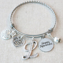 TEACHER SCHOOL RETIREMENT Gift Bangle Bracelet - Personalized 2019 Happy Retirement Gift for Her