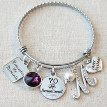 70th Birthday Gift - Remember the Moments Happy 70th Birthday Bracelet