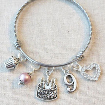 Little Girl Birthday Gifts - 9th BIRTHDAY GIRL Bracelet