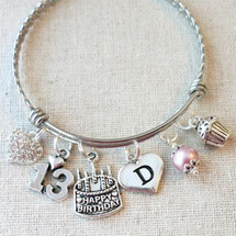 Personalized 13th BIRTHDAY Cupcake Bracelet