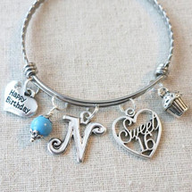 Personalized 16th BIRTHDAY Cupcake Bracelet