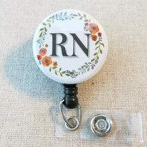RN Registered Nurse ID Badge Holder - Floral Wreath Nurse Hospital Badge