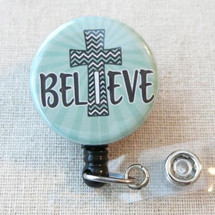 BELIEVE Badge Reel - I Believe Inspirational Gift, Faith Hope Medical Gift, Religious Retractable Badge Holder, Christian Cross ID Clip Badge