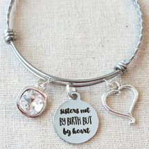 Gifts for FRIENDS STEPSISTER - Sisters Not By Birth But By Heart Bracelet