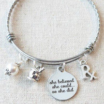 PHARMACIST GRADUATION Gift Bracelet - She Believed She Could So She Did Rx Charm Bracelet, Mortar and Pestle Charm Bracelet