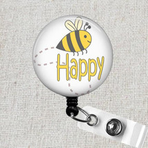 BEE HAPPY Nurse Badge Reel - Bumblebee Retractable Name Badge Holder, Don't Worry Bee Happy Pediatric Badge Holder, Teacher ID Badge Holder