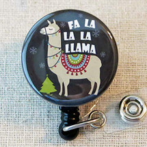Fa La La La Llama Christmas Badge Reel - Llama Retractable Name Badge Holder, Cute Holiday LLAMA Badge Reel, Nurse Teacher ID Badge Holder