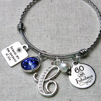 60 And Fabulous Birthstone Gift - Friends Are The Sunshine Of Life Birthday Bracelet
