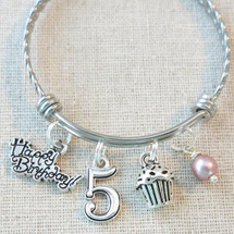 Little Girl Birthday Gifts - 5th BIRTHDAY GIRL Bracelet