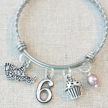 Little Girl Birthday Gifts - 6th BIRTHDAY GIRL Bracelet