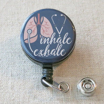 INHALE EXHALE Respiratory Therapist Retractable Badge Holder - Respiratory Therapy RRT RT Gifts