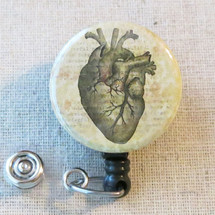 Human HEART ANATOMY ID Holder, Anatomical Heart Badge Reel, American Heart Month Badge Reel, Cardiac Nurse Badge Holder, Cardiologist Gift
