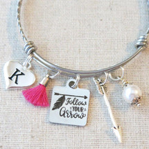 FOLLOW YOUR ARROW - Inspirational Jewelry Gift, Arrow Bracelet Graduation Gift, Tassel Jewelry Friendship Gift, Going Away Gift for Friend