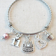 11th BIRTHDAY GIRL Gift - 11th Birthday Charm Bracelet