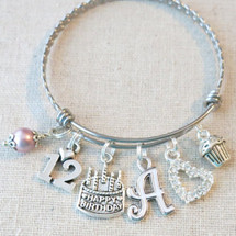 Personalized 12th BIRTHDAY GIRL Gift - 12th Birthday Charm Bracelet