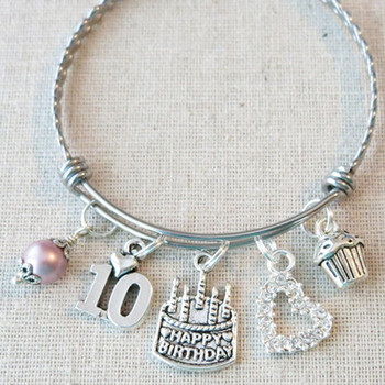 10th BIRTHDAY GIRL Gift - 10th Birthday Charm Bracelet
