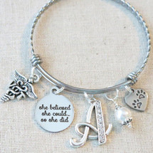 VET TECH GIFT - Vet Tech Graduation Bracelet, She Believed She Could Vet Tech Grad Gift, Veterinary Technician Paw Print Charm Bracelet