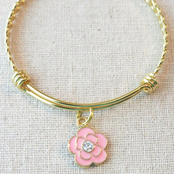 Customized FLOWER CHARM Bracelet for Women or Girls, Personalized Flower Girl Jr Bridesmaid Charm Bracelet, Will You Be Our Flower Girl Gift