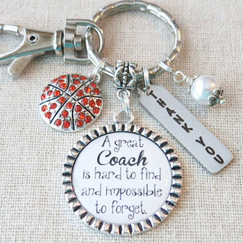 BASKETBALL COACH Gift, Team Gift for Basketball Coach, Basketball Team Coach Thank You Gift, Personalized Basketball Quote Coach Keychain