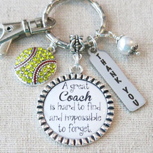 SOFTBALL COACH GIFT, Softball Coach Thank You Keychain, A Great Coach is Hard to Find Gift for Softball Coach, Softball Team Gift for Coach