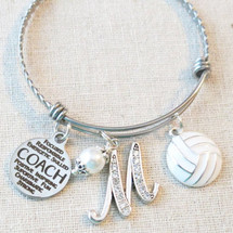 VOLLEYBALL COACH Gift, Custom Volleyball Coach Charm Bracelet, Volleyball Team Thank You Coach Gifts, Coach Appreciation Gift from Team