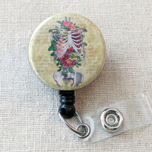 SKELETON RIBCAGE Badge Reel, Human Anatomy Retractable Badge Reel, Human Anatomy ID Holder, Pulmonary Nurse Badge Holder, Heart Doctor Gift